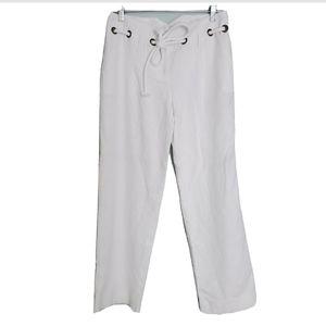 NWOT Carole Little White Linen Blend Long Pants